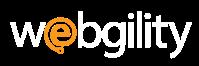 webgility logo - white and orange e.fw